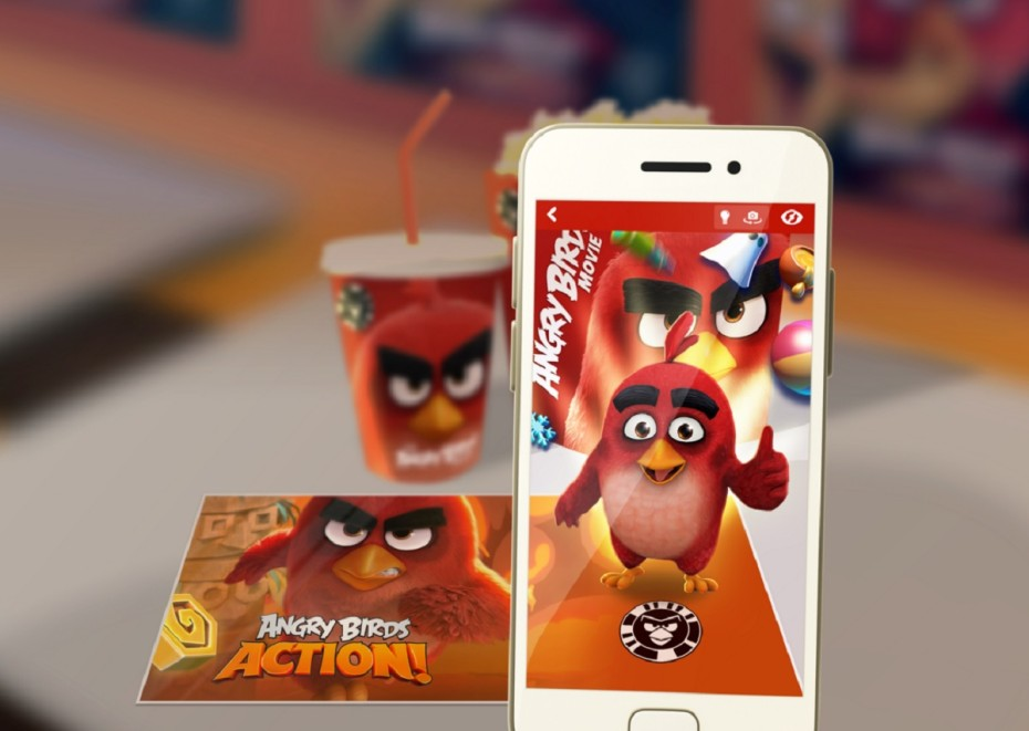 Image shows Angry Birds AR content created in partnership from Zappar and Rovio