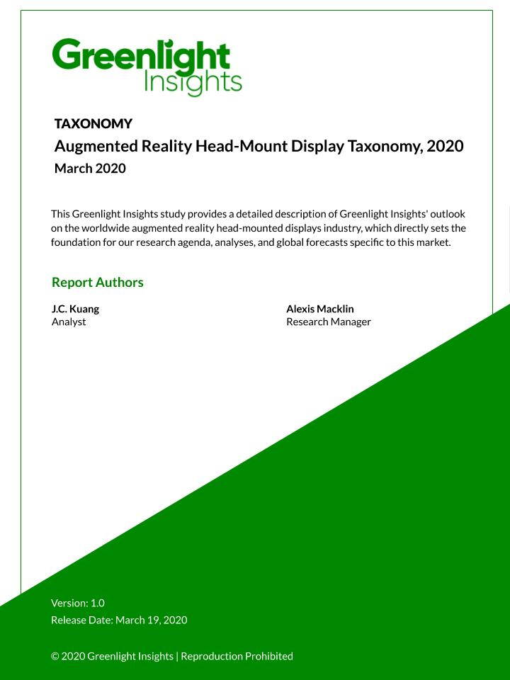 Augmented Reality Head-Mounted Display Taxonomy, 2020